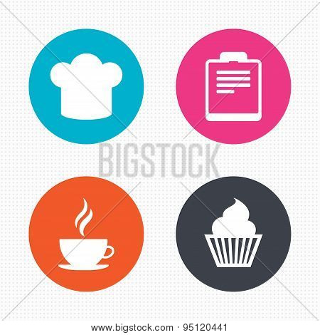 Coffee cup icon. Chef hat symbol. Muffin cupcake