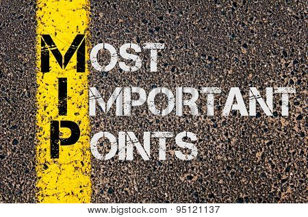 Business Acronym Mip As Most Important Points