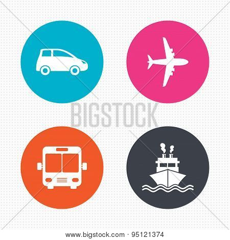 Transport icons. Car, Airplane, Bus and Ship.