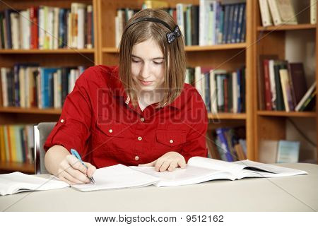 Pretty Teen In Library