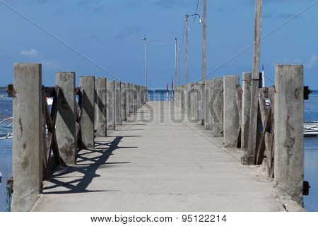Boat Dock Over Blue Ocean, Bohol, Philippines