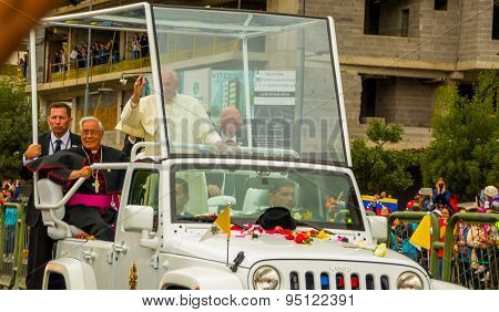 Front side angle Pope Francis motorcade driving through city crowds of people cheering to start off