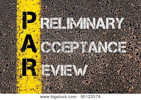 Business Acronym Par As Preliminary Acceptance Review