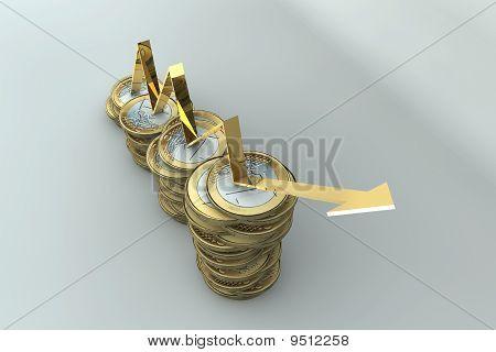 Euro Coins With Arrow