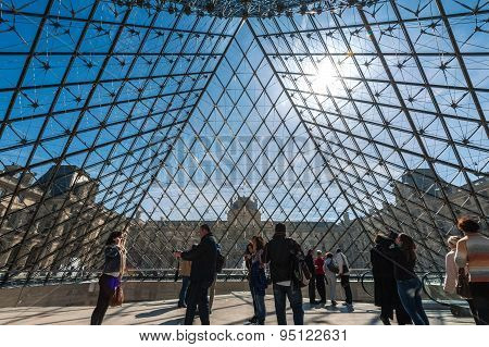Visitors inside the Louvre Museum (Musee du Louvre).