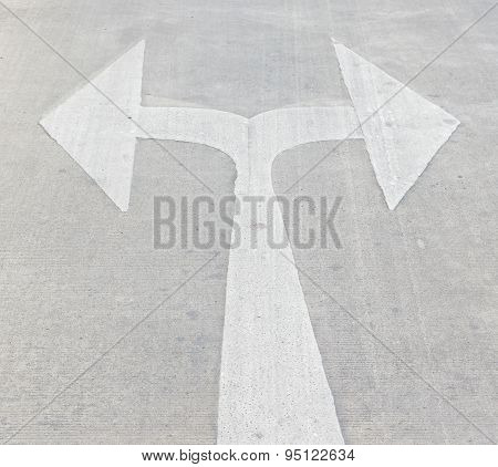 Turn Left And Right Traffic Sign Painted
