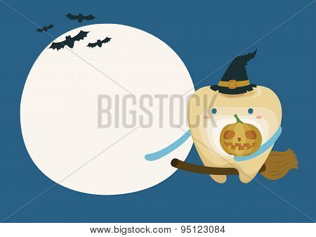 Tooth with pumpkin in moon night on halloween