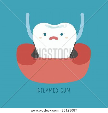 Inflamed gum of dental Illustrator