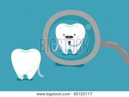 Businessman of tooth with dental tool