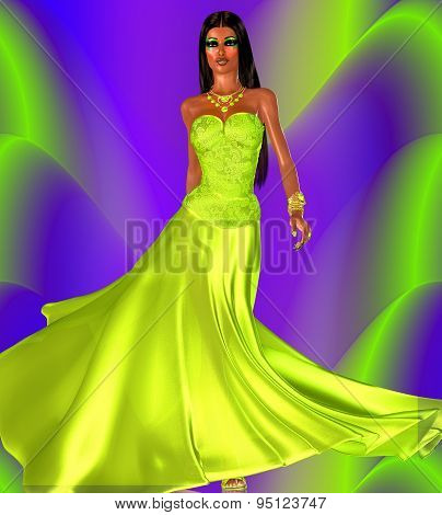 Green evening gown and a colorful background, perfect for beauty and fashion themes.