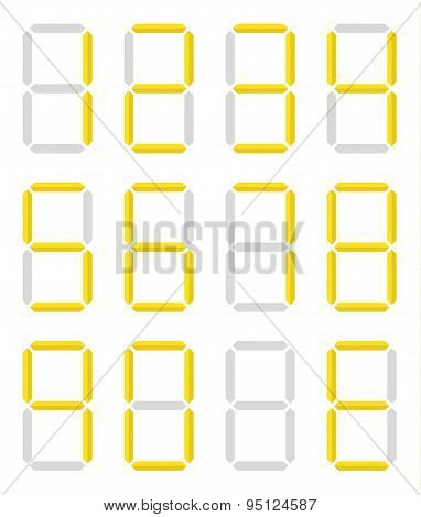 Collection Of Isolated Digital Numbers In Yellow Color