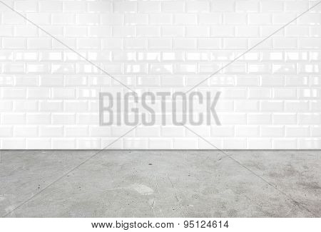 Room Perspective,white Ceramic Tile Wall And Cement Ground