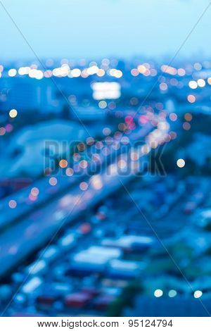 Abstract blur bokeh background of city highway road curve