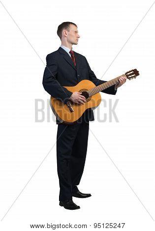 Businessman playing guitar