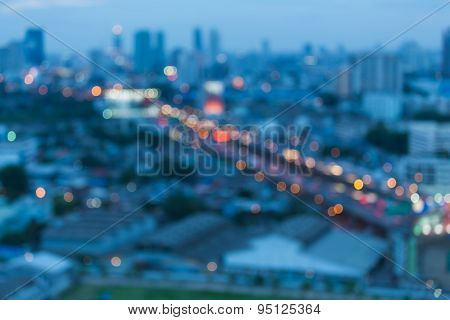 City at night - abstract blur photo,Bokeh background