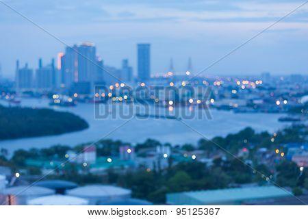 Blurred focus of big city