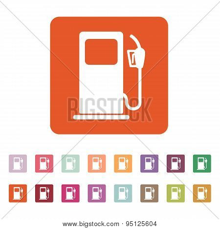 The Gas Station Icon. Gasoline And Diesel Fuel Symbol. Flat