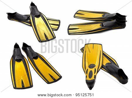Set Of Yellow Swim Fins For Diving