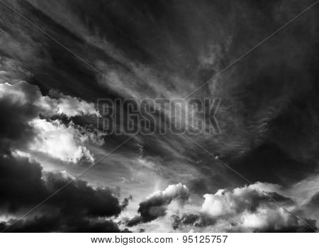 Black And White Cloudscape Background
