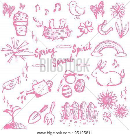 Spring Holiday Season Doodle Animal, Plant And Flower, Leisure Activities And Tools, And Easter Fest