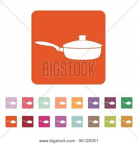 The Pan Icon. Dripping Pan Symbol. Flat