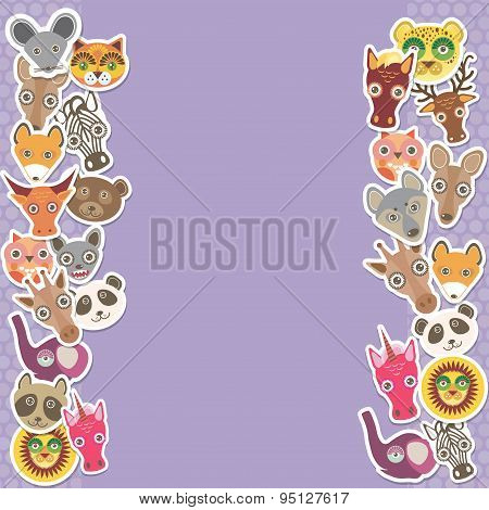 Funny Animals Card Template. Lilac Background, Template For Your Design. Vector