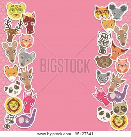 Funny Animals Card Template. Pink Background, Template For Your Design. Vector