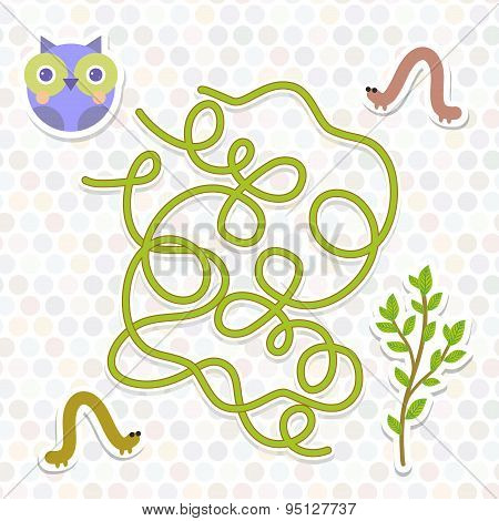 Owl Bird Labyrinth Game For Preschool Children. Vector