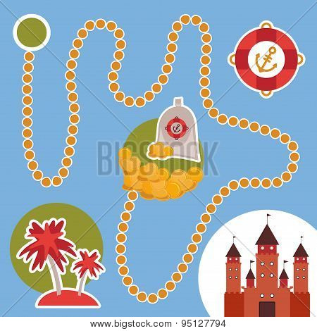 Pirate Treasure, Island, Castle. Game For Preschool Children. Vector
