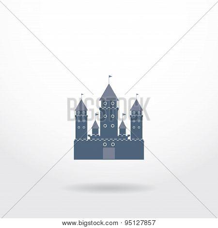 Blue Castle Silhouette Logo On White Background. Vector