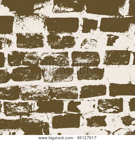 Brickwork, Brick Wall Of An Old House, Brown And White Grunge Texture, Abstract Background. Vector