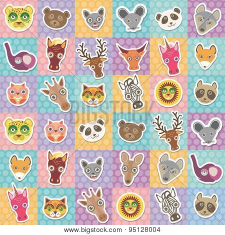Set Of Funny Animals Muzzle Seamless Pattern With Pink Lilac Blue Orange Square. Vector