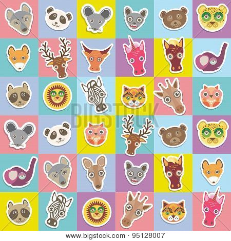 Set Of Funny Animals Muzzle Seamless Pattern With Pink Lilac Blue Yellow Square. Vector