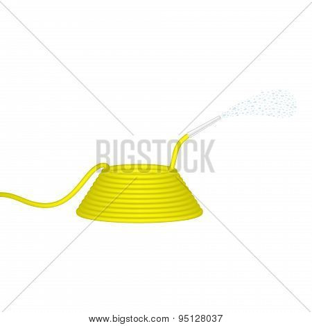 Garden hose in yellow design squirts water