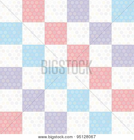 Polka Dot Background Seamless Pattern With Pink Lilac Blue Square. Vector