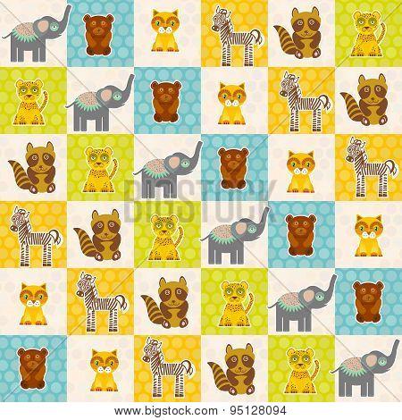 Set Of Funny Animals Bear Cat Raccoon Zebra Tiger Elephant Seamless Pattern. Polka Dot Background Wi