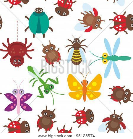 Funny Insects Spider Butterfly Dragonfly Mantis Beetle Wasp Ladybugs Seamless Pattern On White Backg