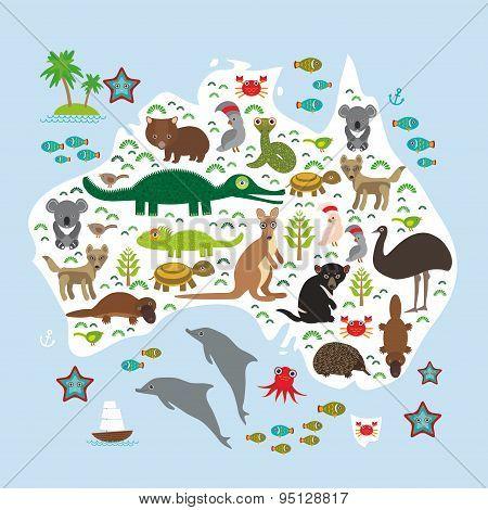 Map Of Australia. Echidna Platypus Ostrich Emu Tasmanian Devil Cockatoo Parrot Wombat Snake Turtle C