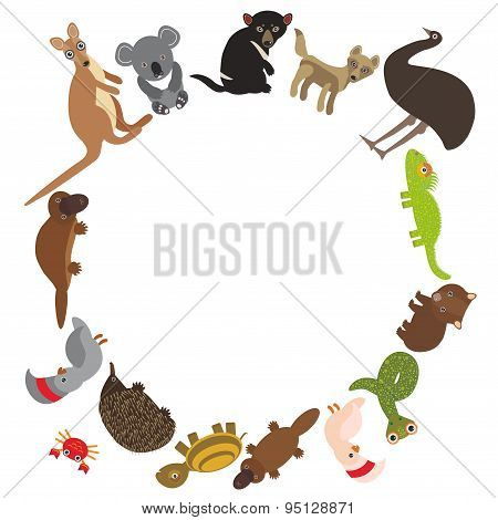 Round Frame For Text Animals Australia: Echidna Platypus Ostrich Emu Tasmanian Devil Cockatoo Parrot