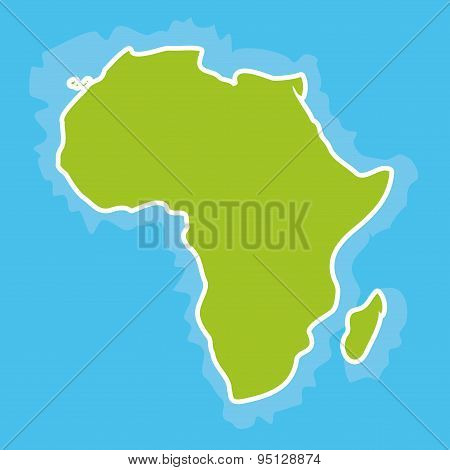 Map Of Africa Continent And Blue Ocean. Vector