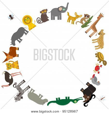 Round Frame For Text  Animal Africa: Parrot Hyena Rhinoceros Zebra Hippopotamus Crocodile Turtle Ele