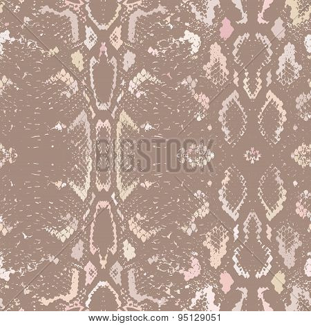 Snake Skin Texture. Seamless Pattern Beige Brown Background. Vector