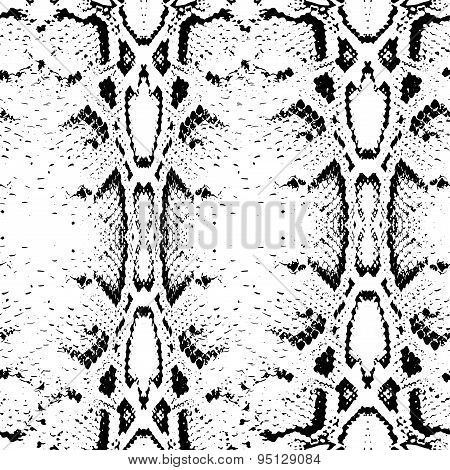Seamless Pattern Black On White Background. Snake Skin Texture. Vector