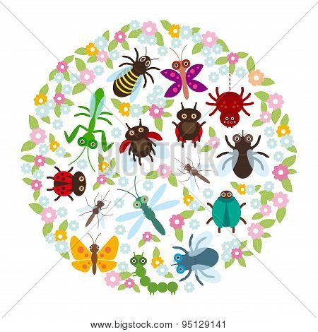 Card Design In A Circle Funny Insects Spider Butterfly Dragonfly Mantis Beetle Wasp Ladybugs On Whit