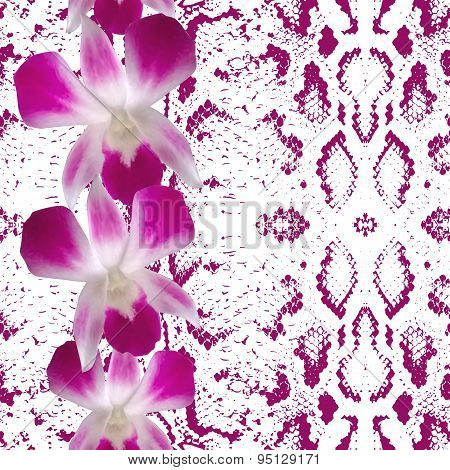 Snake Skin Texture Pink Flowers, Orchid. Seamless Pattern On White Background. Vector