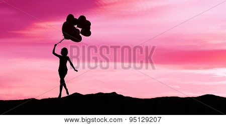 Girl Running With Balloons At Sunset