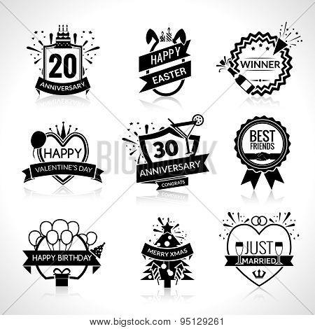 Celebration Black Emblems Set