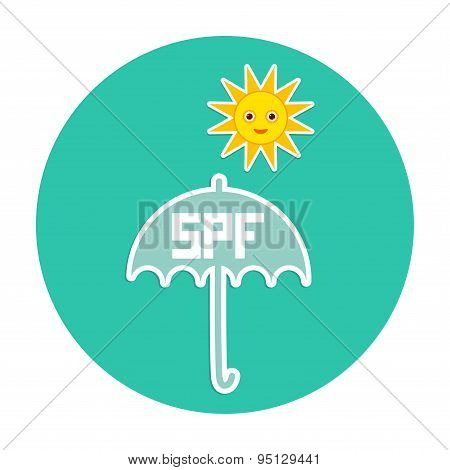 Summer Vacation Beach Round Card Design. Umbrella, Bright Sun, Sunscreen, Spf. Yellow Green Blue. Ve