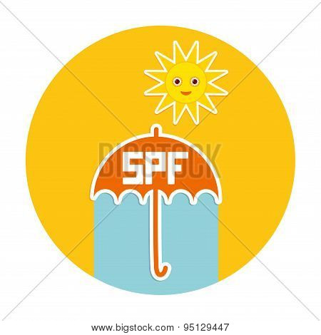 Summer Vacation Beach. Umbrella, Bright Sun, Sunscreen, Spf. Yellow Green Blue Orange. Vector
