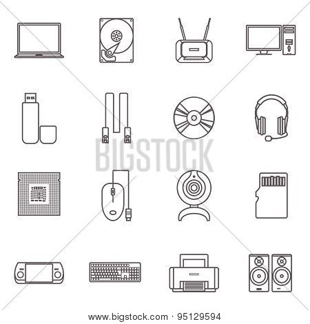 Computer Hardware And Accessories Icon Set